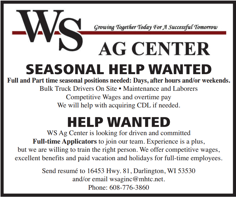Now Hiring Ws Ag Center